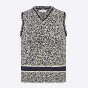 Dior Women V-Neck Sleeveless Sweater Blue Gray Cashmere Wool