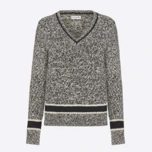 Dior Women V-Neck Sweater Blue and Gray Cashmere and Wool