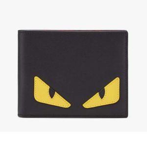endi Unisex Coin Wallet Black Calfskin Colour-Block Bag Bugs Eye Inlays