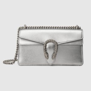 Gucci Women Dionysus Small Shoulder Bag Shiny Lamé Leather Tiger Head-Silver