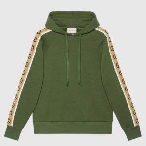 Gucci Men Cotton Jersey Hooded Sweatshirt Green Heavy Felted Organic