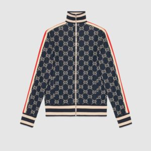Gucci Men GG Jacquard Cotton Jacket Blue Ivory GG Jacquard Jersey