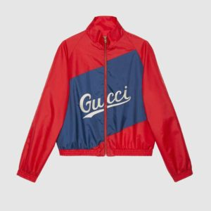 Gucci Men Nylon Jacket Gucci Script Red Lightweight Canvas Nylon Blue Stripe