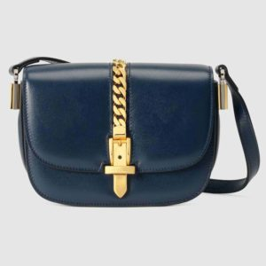 Gucci Women Sylvie 1969 Mini Shoulder Bag Textured Leather Vintage-Navy