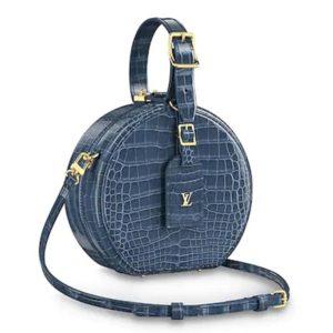 Louis Vuitton LV Women Petite Boite Chapeau Hatbox Shiny Crocodile Leather-Navy