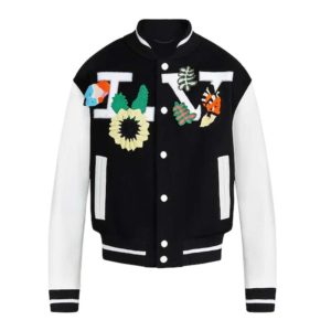 Louis Vuitton LV Men Crochet Flowers Varsity Jacket Cowskin Wool