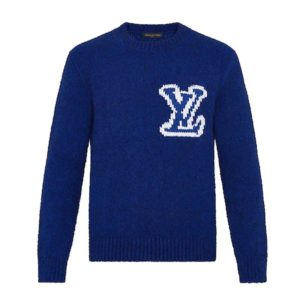 Louis Vuitton LV Men LV Intarsia Crewneck Regular Fit Wool-Blue