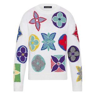 Louis Vuitton LV Women Multicolor Monogram Crewneck Flowers Sweater 100% Wool