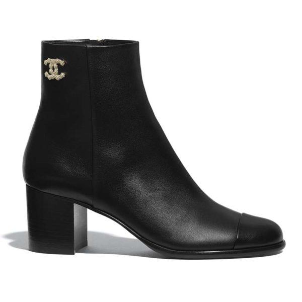 Chanel Women Ankle Boots Calfskin Black 6.5 cm 2.6 in Heel