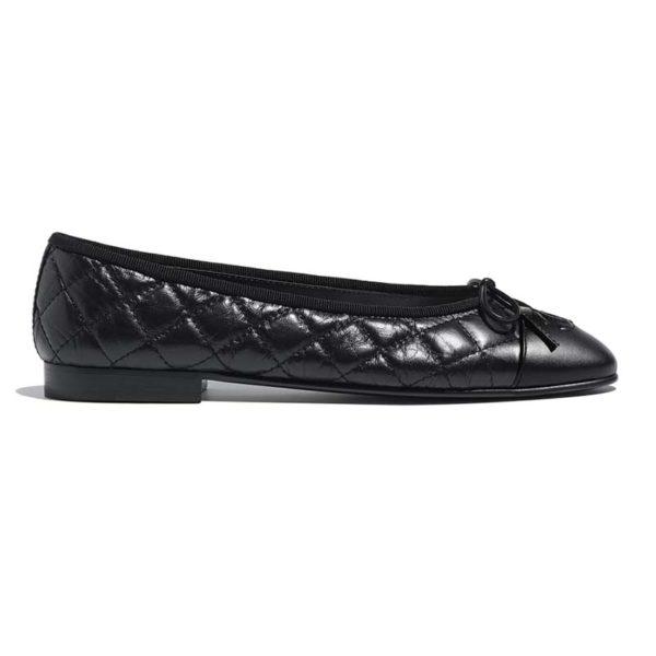 Chanel Women Ballerinas Aged Calfskin Black 1 cm Heel