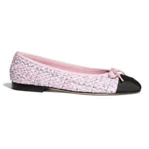 Chanel Women Ballerinas Tweed & Grosgrain Pink & Black 1 cm Heel