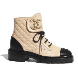 Chanel Women Lace-Ups Shiny Goatskin & Calfskin Beige 2 cm Heel