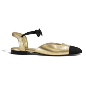 Chanel Women Mary Janes Laminated Lambskin & Grosgrain Gold & Black 1 cm Heel