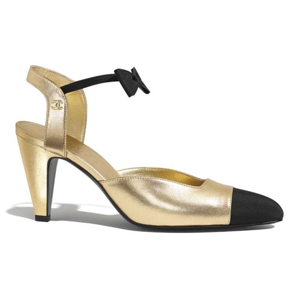 Chanel Women Pumps Laminated Lambskin & Grosgrain Gold & Black 7.9 cm Heel