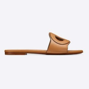 Dior Women D-Club Mule Camel Calfskin Leather 'CD' Signature