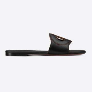 Dior Women D-Club Slide Black Calfskin Leather 'CD' Signature