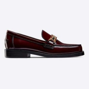 Dior Women Dior Code Loafer Burgundy Gradient Calfskin 'Christian Dior' Signature