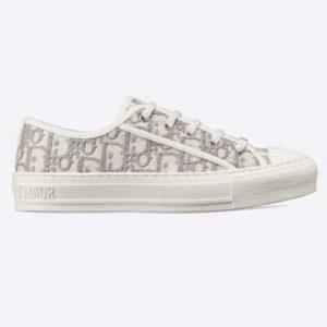 Dior Women Walk'n'Dior Sneaker Gray Dior Oblique Embroidered Cotton