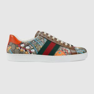Gucci GG Men's Disney x Gucci Donald Duck Ace Sneaker Beige GG Supreme Canvas