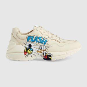 Gucci GG Unisex Disney x Gucci Donald Duck Rhyton Sneaker Ivory Leather