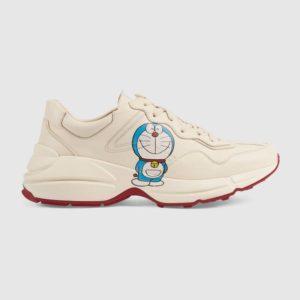 Gucci GG Unisex Doraemon x Gucci Rhyton Sneaker Ivory Leather-Beige