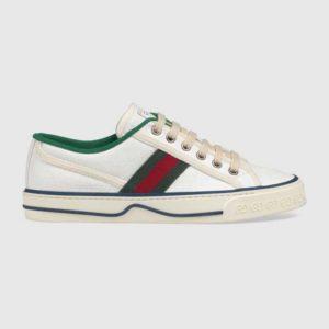 Gucci GG Unisex Gucci Tennis 1977 Sneaker White Mini GG Jacquard Fabric