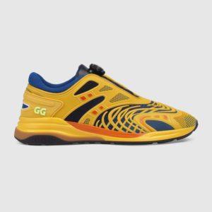 Gucci GG Unisex Ultrapace R Sneaker Knit Fabric Interlocking Double G 3 cm Heel-Yellow