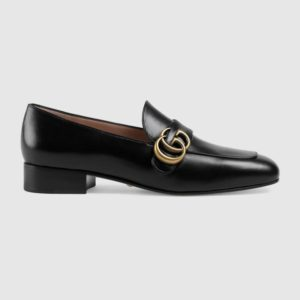 Gucci GG Women's Loafer with Double G Black Leather 2.5 cm Heel