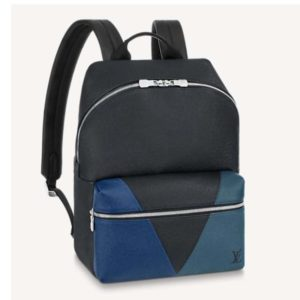 """Louis Vuitton Unisex Discovery """"V"""" Logo Backpack Blue Monochrome Taiga Leather"""