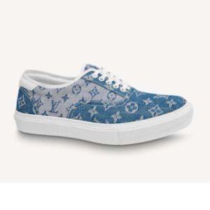 Louis Vuitton Unisex Trocadero Richelieu Sneaker Navy Blue Monogram Denim