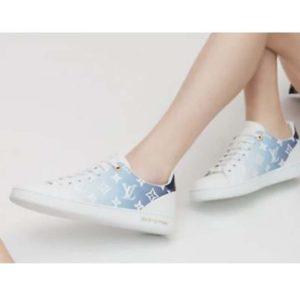 Louis Vuitton Women Frontrow Sneaker Calf Leather Monogram Canvas Signature-Blue