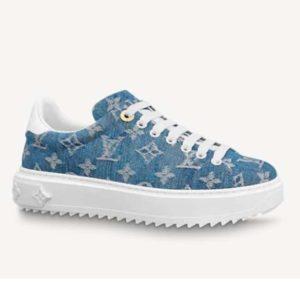 Louis Vuitton Women Time Out Sneaker Blue Monogram Denim