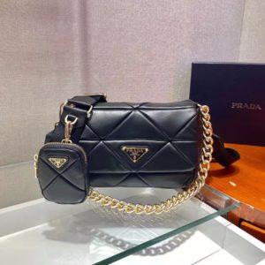 Prada Women Padded Leather Shoulder Bag Triangle-Stitched Padding-Black