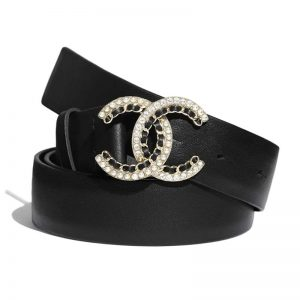 Chanel Women Calfskin Gold-Tone Metal Glass Pearls & Strass Belt Black