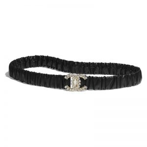 Chanel Women Calfskin Gold-Tone Metal Glass Pearls & Strass Black Belt