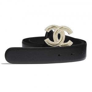 Chanel Women Calfskin Gold-Tone Metal & Strass Belt-Black