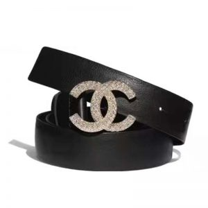 Chanel Women Calfskin Gold-Tone Metal & Strass Belt Black