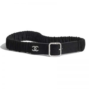 Chanel Women Goatskin Silver-Tone Metal & Strass Black Belt
