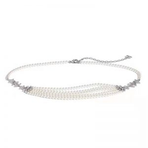 Chanel Women Gold-Tone Metal Pearls & Strass Silver & Crystal Belt