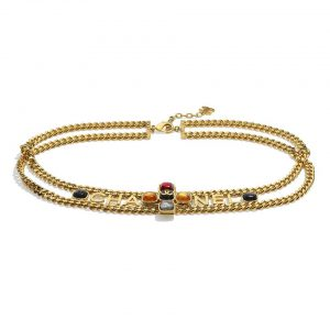 Chanel Women Metal & Natural Stones Gold Blue Red & Orange Belt