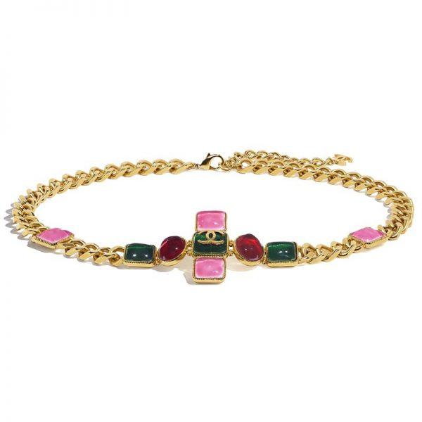 Chanel Women Metal & Resin Gold Green Burgundy & Pink Belt
