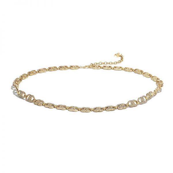 Chanel Women Metal & Strass Gold & Crystal Belt