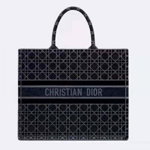 Dior Women Dior Book Tote Blue Cannage Embroidered Velvet