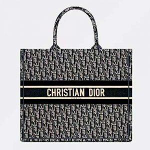 Dior Women Dior Book Tote Blue Dior Oblique Embroidery