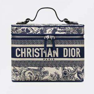 Dior Women DiorTravel Vanity Case Blue Toile De Jouy Embroidery
