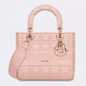 Dior Women Medium Lady D-Lite Bag Bois De Rose Cannage Embroidery