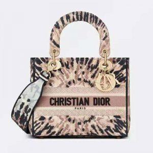 Dior Women Medium Lady D-Lite Bag Multicolor Tie & Dior Embroidery