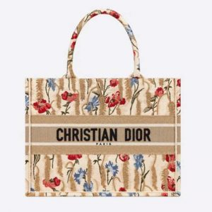 Dior Women Small Book Tote Beige Multicolor Hibiscus Metallic Thread Embroidery