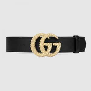 Gucci GG Unisex Belt with Textured Double G Buckle Black Leather 4 cm Width