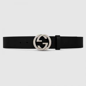 Gucci GG Unisex Black Leather Belt with Interlocking G Buckle 4 cm Width